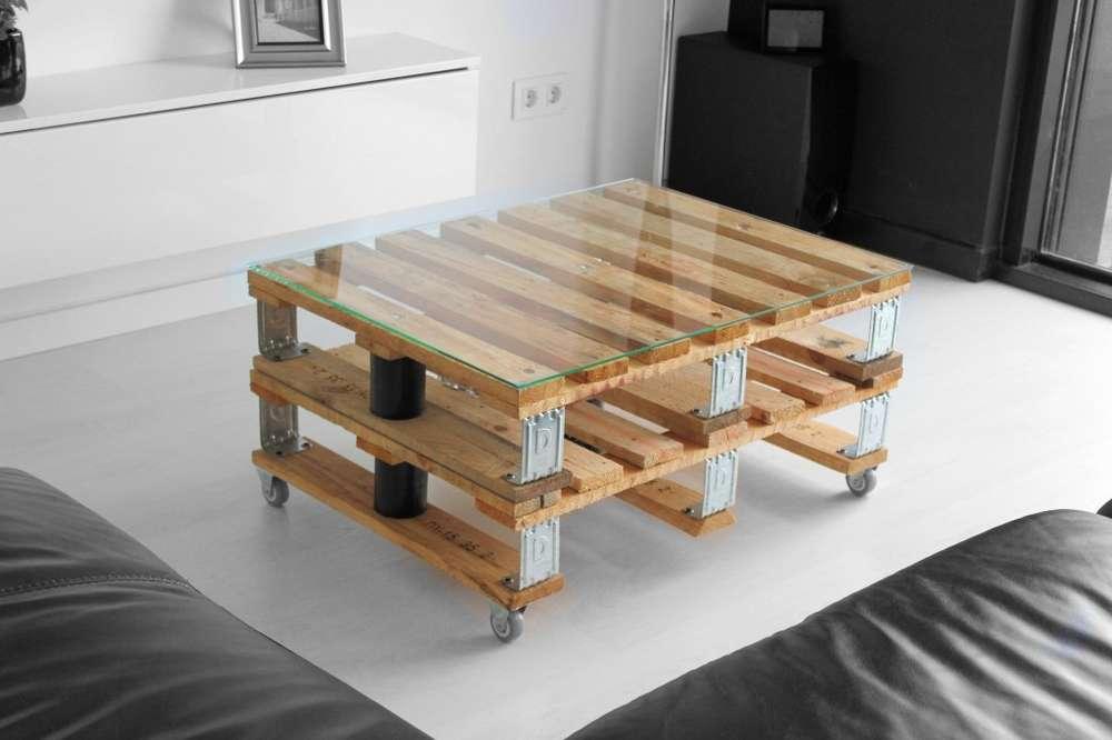 mesa de centro doble palet vintage industrial dsseldorf - Mesas Con Palets